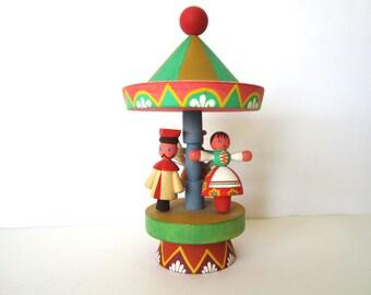 Vintage Wooden Carousel by Miratynski Poland Merry Go Round Wood Figurine