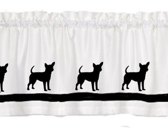 Chihuahua Smooth Dog Window Valance Curtain - Your Choice of Colors