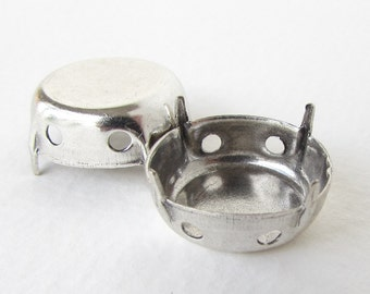 Round Prong Setting Antiqued Silver Ox Rhinestone Sew On Closed Back 20mm set0310 (2)