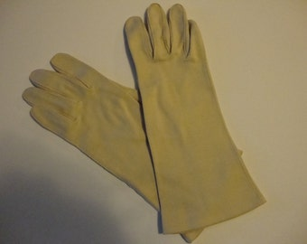 vintage tan mid-length gloves