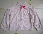 Vintage Girls' Blouse with Little Pink Hearts . Childrens' Size 6