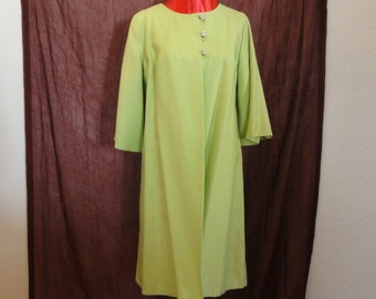 Vintage 50s 60s Chartreuse Green Lightweight Dress Coat Jacket-Rhinestone Buttons-3/4 Sleeves-Sz Small