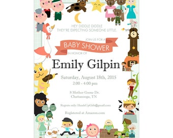 Personalized Mother Goose Nursery Rhymes Baby Shower or Birthday Invitations and Envelopes One Dozen Printed NV047
