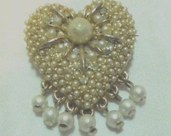 Vintage Pave Faux Pearl Heart Pin Accented w/ Tiny Rhinestones