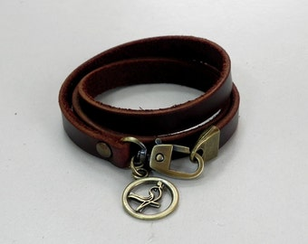 Leather Bracelet Leather Charm Bracelet Brown Color with Metal Bird Charm