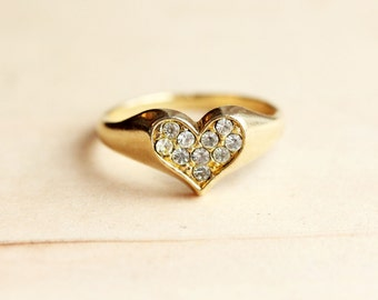 Crystal Heart Ring - Size 8.5