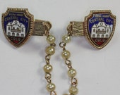 Central City CO Sweater Guard Opera House Enameled Faux Pearls Vintage