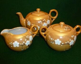 Vintage Lusterware Teapot, Cream & Sugar, Floral, Made in Japan, Rising Sun, RS