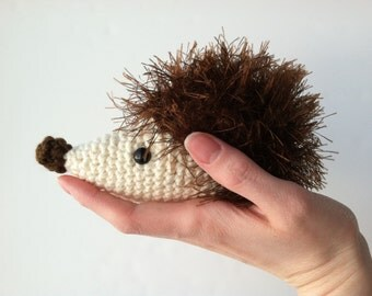 Amigurumi Crochet Chocolate Brown Hedgehog Plush Kawaii plsuh Hedgehog Nursery Decor Stuffed Animal Hedgehog Plushie Hedgehog Doll