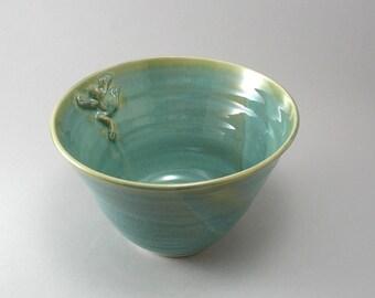Serving Bowl-Frog-Pottery Bowl-Ceramic Bowl-Handmade-Tableware-Teal-Pearl Green Glaze-Stoneware Dish-Ready to Ship