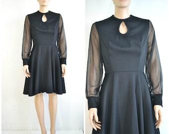 60s Vintage Black Mini Dress Full Circle Skirt Sheer Sleeves Keyhole Neckline Mod Party Dress
