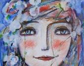 Original painting -illustration Spring  Portrait  girl     OOAK by miliaart studio