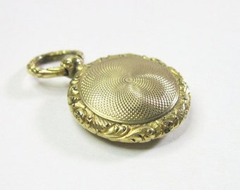 Antique 14K Gold Victorian Locket - Pendant - Small - C1840 - Mid 19th Century