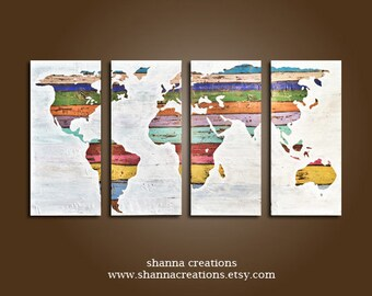 Vintage world Map painting set of 3 wall art hand acrylic painting mixed art canvas art, Wall Decor Art, Rustic World Map, Decor, Shabby