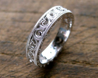 Tacori Style Scroll Wedding Ring in 14K White Gold with Mil Grain Finish on Edges Size 5