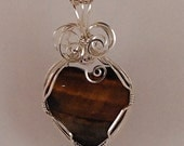 wire wrapped, tiger eye heart pendant, sterling silver - P273