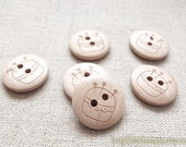6PCS Wooden Buttons, Natural Color - Natural Chic Sewing Handmade Tool Pincushion Button (6PCS, D=2CM)