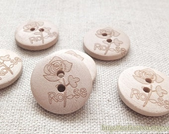 6PCS Wooden Buttons, Natural Color - French Style Blooming Rose Flowers (6PCS, D=2CM)