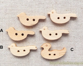 8PCS Wooden Buttons, Natural Color - Lovely Flying Birds Mandarin Duck Collection (Choose Pattern)