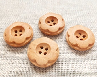 Wooden Buttons, Natural Color - Six Petaled Carved Flowers  (4 in a set, D=2cm)