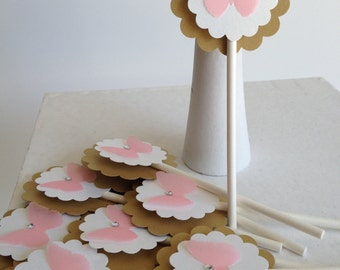 Cupcake Toppers - Pink Butterfly - Happy Birthday Baby Shower Toppers (24CT)