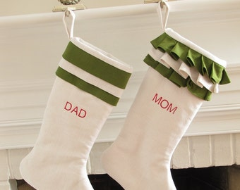 Personalized Linen Christmas Stocking Stockings Pair Green and White Monogram Wedding Gift