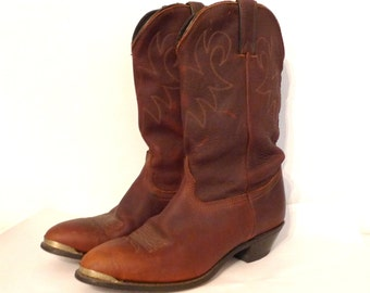 Vintage Leather Cowboy Boots US Sz 9.5 Whiskey Brown Western Durango Frye Docs Kicks on sale