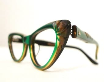 Rare Vintage 50s Emerald Green and Honey Dipped Carved Cat Eye Frames Rare Women's Eyeglasses or Sunglasses Never Used