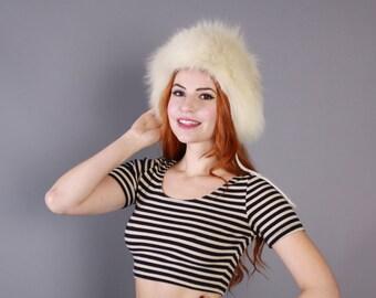 70s Boho FOX FUR HAT / 1970s Fluffy Ivory White Furry Winter Hat
