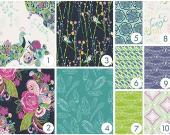 Baby Bedding - Pretty Peacock Custom Crib Bedding -  - Pink, Purple, Teal, Aqua, Lime