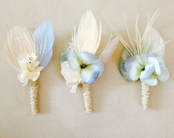 Vintage Blue Flower and Feather Boutonniere