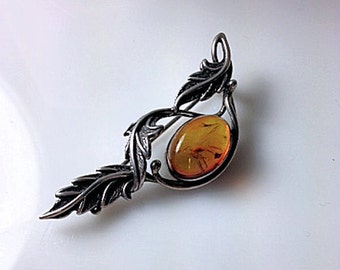 Vintage Baltic Amber and Sterling Silver Brooch Pin