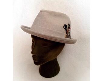 Vintage Gray Fedora Hat  Bee Hats