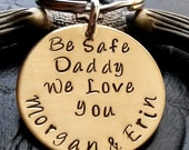 Be Safe Daddy Key Chain -Fathers Day Gifts-Thin Blue Line-firefighter gift-police officer gift-Custom KeyChain law enforcement, gift for dad