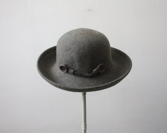 vintage charcoal fedora / button fedora