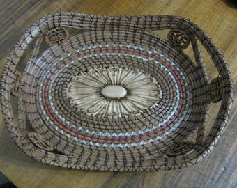 Daughter Pine Needle Basket with Maroon Thread and 6 Black walnut slices for handles