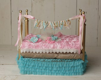 Baby Marie Baby Bed Prop, newborn baby bed photo prop, Marie Antoinette inspired colors baby items props