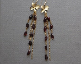 Baltic Amber Bohemian Gold Earrings. Shoulder Dusters