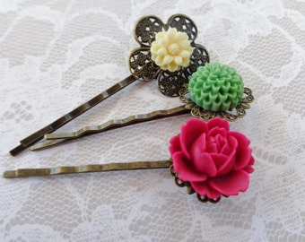 Geranium, Ivory And Forest Green Hair Clips