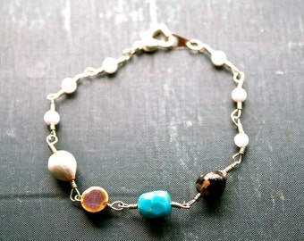 Turquoise and Seed Bracelet