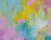 "Original Abstract Painting Spring Pastel Colors Pink Yellow Light blue Turquoise 12""x12"""