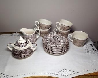Vintage Brown Toile Tea Set Cups, Saucers, Cream & Sugar English Ironstone Teacups