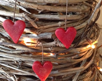Mini Cranberry Beeswax Heart Ornies  #110