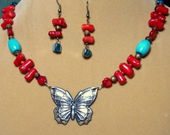 Red Branch Coral Gold Coral and Turquoise Butterfly Necklace / Butterfly Necklace / Coral Necklace / Chunky necklace