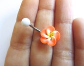 Belly Button Ring Jewelry. Bright Orange Hawaiian Flower Plumeria Belly Button Ring Hawaii Navel Stud Jewelry Bar Barbell Piercing Tropical