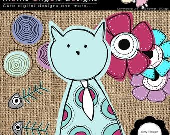 Kitty flower clipart - COMMERCIAL USE OK