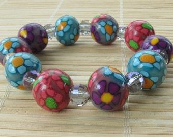 FLOWER POWER Multicolored Stretch Bracelet - Hippie Floral Design Beaded Jewelry for Women