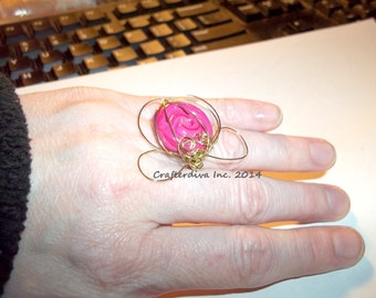 Wire-Wrapped Clay Ring, Wire and Clay Ring, Polymer Clay Ring, Pink Clay Ring, Wire Flower Ring