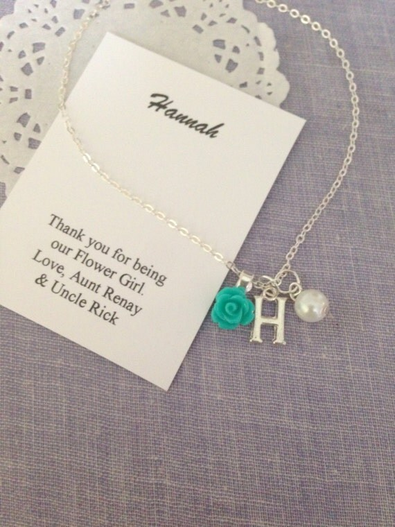 Flower Girl Gift Baskets : Children necklace flower girl gifts rose initial