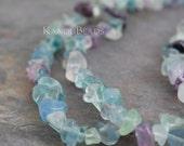 "Rainbow Fluorite Small Chip Beads  5-10mm  LONG 34"" strand"
